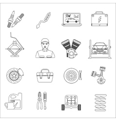 Auto mechanic car repair service thin line icons vector