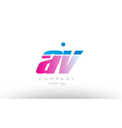 Av a v alphabet letter combination pink blue bold vector