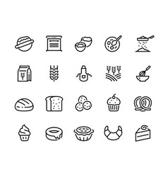 bakery line icons wheat flour eggs and sugar vector image