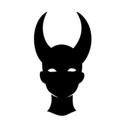 Black silhouette a demon head with horns vector