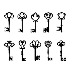 Black vintage keys set vector image