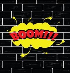 boom on brick wall cartoon vector image