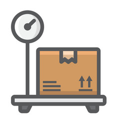 box on storage scale filled outline icon logistic vector image