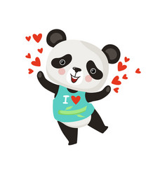 cartoon character of little panda in t-shirt vector image