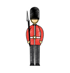 cartoon soldier of a queen guard royal in vector image