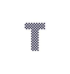 Checker pattern logo letter t vector
