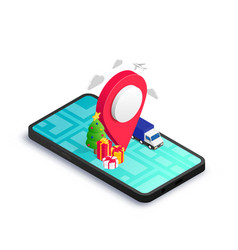 Christmas gift delivery isometric concept phone vector