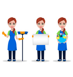 cleaning company staff in uniform vector image