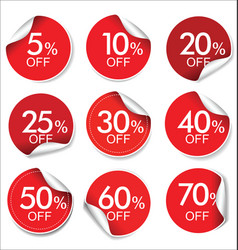 collection of red discount offer price labels vector image