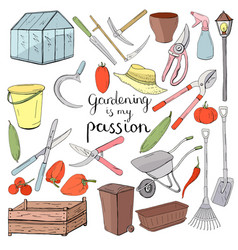 colour set with different gardening tools object vector image