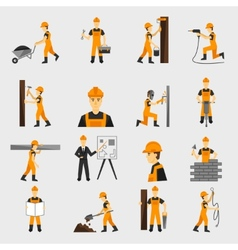 Construction worker icons flat vector