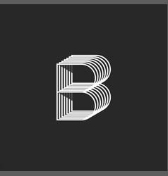 creative b letter logo monogram parallel lines vector image