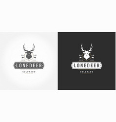 deer head with horns logo emblem vector image