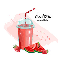 Detox watermelon smoothie cocktail drinks fresh vector