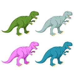 Dinosaur multicolored set pink tyrannosaurus rex vector