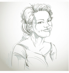 Drawing of smiling pleased woman with stylish vector