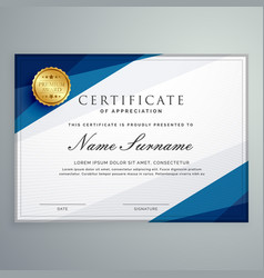 Elegant white and blue certificate diploma vector