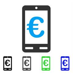 Euro mobile bank flat icon vector