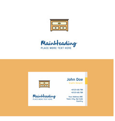 flat cupboard logo and visiting card template vector image