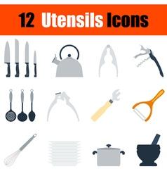 Flat design utensils icon set vector image