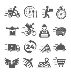 food delivery icons on white background vector image