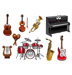 Funny musical instruments cartoon characters vector