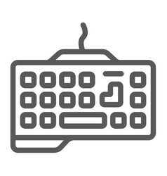 Gaming keyboard line icon technology and device vector