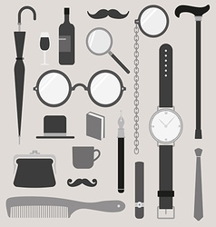 Gentlemens vintage stuff design elements set vector