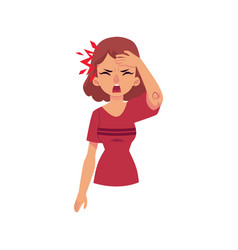 Girl woman having headache migraine pain vector
