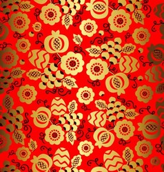 Golden floral ornament on red background in chines vector