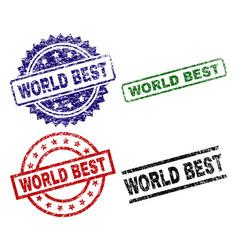 Grunge textured world best seal stamps vector