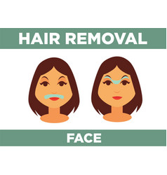 Hair removal from face promotional poster with vector