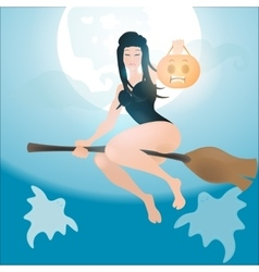 half-naked witch flying on a broom vector image