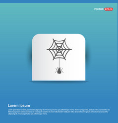 Halloween spider web icon - blue sticker button vector