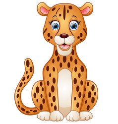 happy leopard cartoon sitting vector image