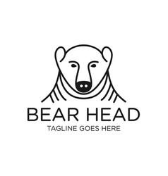 Head bear outline logo vector