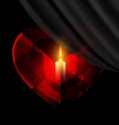 heart and candle vector image vector image