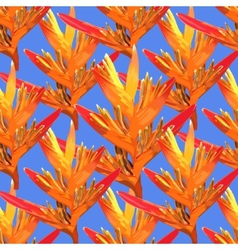 Heliconia colorful seamless flower on a blue vector