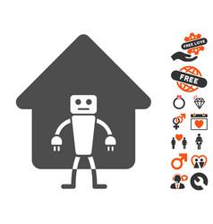 Home robot icon with love bonus vector