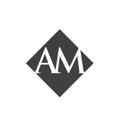 Initial am rhombus logo design vector