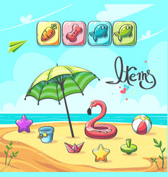 items for match three game summer break vector image