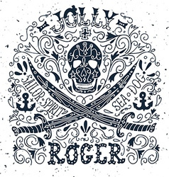 Jolly Roger Hand drawn vintage label with a pirat vector