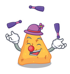 juggling nachos mascot cartoon style vector image