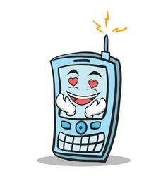 Kissing phone character cartoon style vector