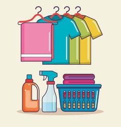 Laundry basket clothes hanger soap spray vector