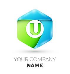 Letter u logo symbol in colorful hexagonal vector