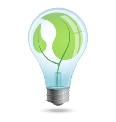 Light bulb with shoots of plants inside vector
