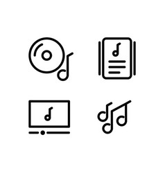 linear music and audio icons design isolated vector image