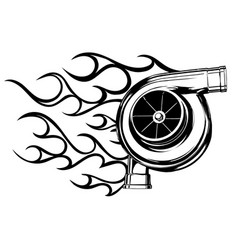 logo design for turbo with fire vector image