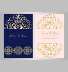 Luxury gold and blue floral mandala wedding card vector
